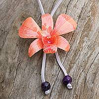 Natural orchid and amethyst long necklace, 'Pink' - Natural Orchid and Amethyst Long Necklace