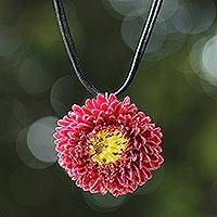 Natural flower necklace, 'Thai Sun' - Handcrafted Natural Flower Pendant Necklace