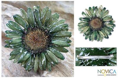 Natural flower brooch pin, 'Blossom into Green' - Natural Flower Brooch Pin