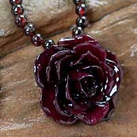 Natural rose and garnet flower necklace, 'Forever a Rose' - Natural rose and garnet flower necklace