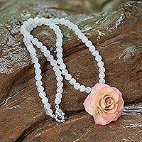 Natural rose and milky quartz flower necklace, 'Forever a Rose'