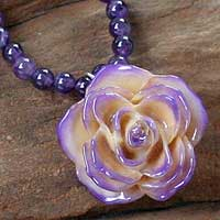 Natural rose and amethyst flower necklace, 'Forever a Rose' - Amethyst Natural Flower Pendant Necklace