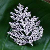 Natural leaf silver plated brooch pin pendant, 'Cypress Honor' (Thailand)