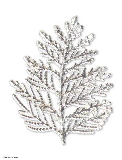 Fine Silver Plated Leaf Brooch Pin