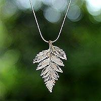 Natural leaf silver plated choker, 'Fern Love' - Handcrafted silver Plated Leaf Choker