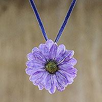 Natural flower necklace, 'World of Violet' - Natural flower necklace