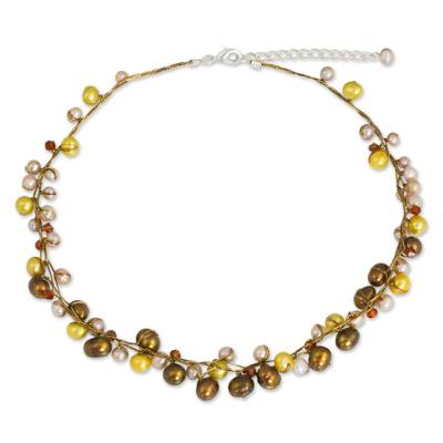 Pearl strand necklace, 'River of Gold' - Handmade Pearl Necklace