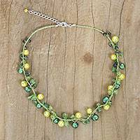 Pearl and peridot strand necklace, 'Tropical Elite' - Handmade Pearl and Peridot Necklace