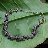 Cultured pearl and amethyst strand necklace, 'Tropical Elite' - Amethyst and Peridot Necklace Handmade in Thailand