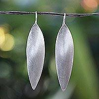 Sterling silver drop earrings, 'Bold Admiration' - Hand Made Modern Sterling Silver Drop Earrings