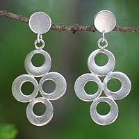 Silver dangle earrings, 'Ethereal' - Silver dangle earrings