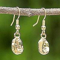 Gold plated natural coffee bean dangle earrings, 'Coffee Chic'
