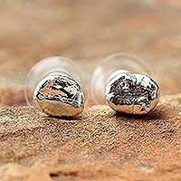 Silver plated natural coffee bean button earrings, 'Morning Sunshine'