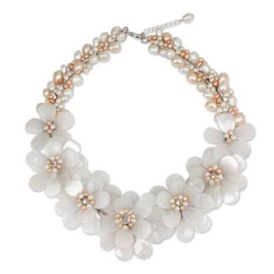 Floral Quartz and Pearl Necklace