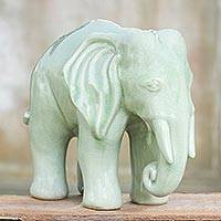 Celadon ceramic statuette, 'Elephant Grace' - Unique Celadon Ceramic Sculpture