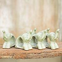 Celadon ceramic napkin rings, 'Elephant Hello' (set of 6)