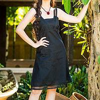 Cotton sundress, 'Summer Night' - Black Cotton Sundress