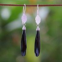 Onyx dangle earrings, 'Thai Dreams' - Silver Onyx Dangle Earrings