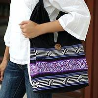 Cotton shoulder bag, 'Violet Art' - Cotton Shoulder Bag from Thailand