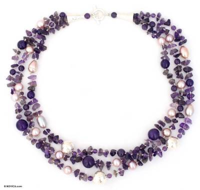 Hand Crafted Silver and Amethyst Necklace