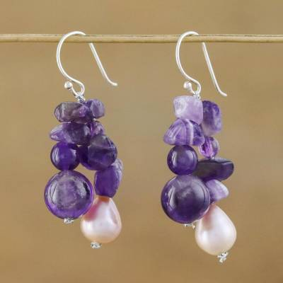 Pearl and amethyst cluster earrings, 'Glorious' - Pearl and amethyst cluster earrings
