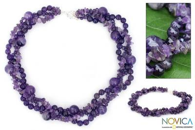 Amethyst torsade necklace, 'Glorious' - Amethyst Beaded Torsade Necklace