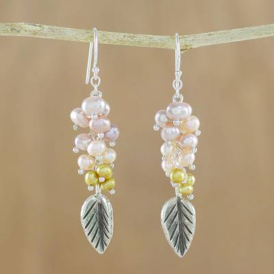 Pearl dangle earrings, 'Perfect Leaf' - Sterling Silver and Pearl Dangle Earrings