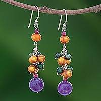 Pearl and amethyst cluster earrings, 'Celebration' - Fair Trade Amethyst and Pearl Cluster Earrings
