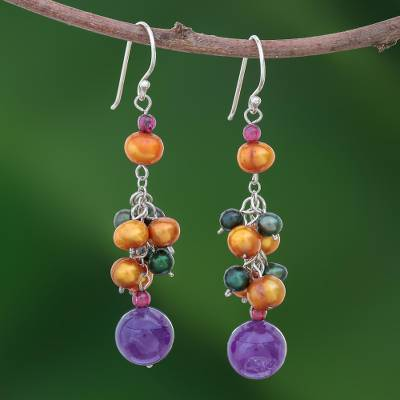 Pearl and amethyst cluster earrings, Celebration