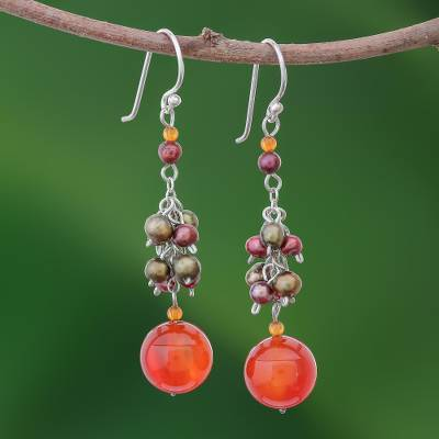 Pearl and carnelian cluster earrings, 'Celebration' - Pearl and Carnelian Cluster Earrings