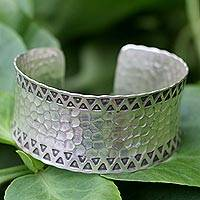 Sterling silver cuff bracelet, 'Tribal Moon'