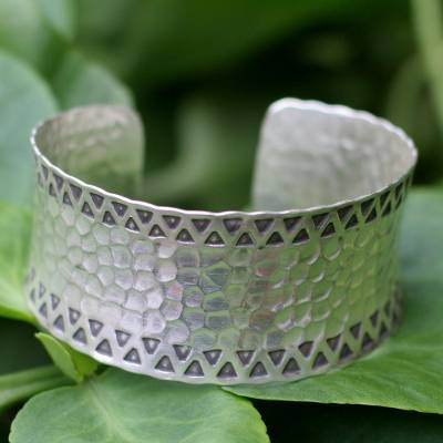 Sterling silver cuff bracelet, Tribal Moon