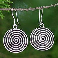 Sterling silver dangle earrings, 'Hypnotized' - Hill Tribe Sterling Silver Dangle Earrings