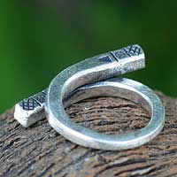 950 silver wrap ring, 'Glyphs' - Handmade 950 Silver Wrap Ring