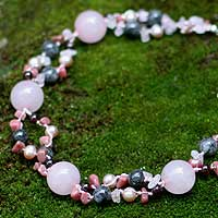 Pearl and rose quartz strand necklace, 'Pink Exuberance' - Beaded Rose Quartz and Pearl Strand Necklace