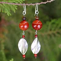 Tiger's eye and carnelian dangle earrings, 'Sunset Horizon' - Tiger's eye and carnelian dangle earrings