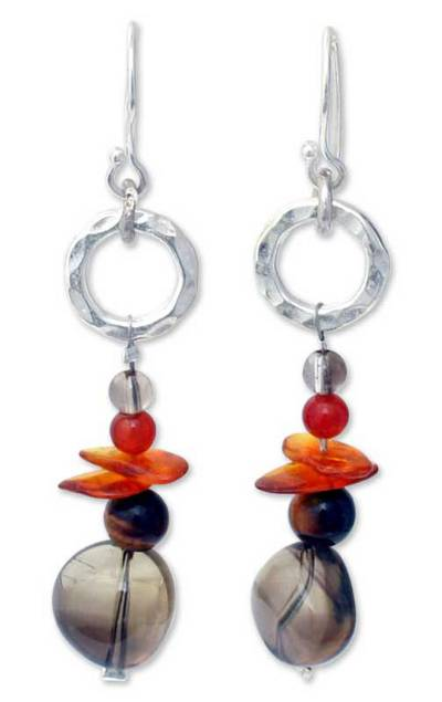 Hand Made Sterling Silver and Amber Dangle Earrings