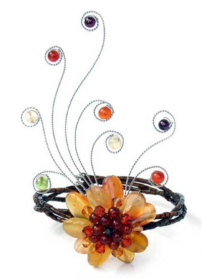 Handcrafted Floral Beaded Carnelian Bracelet