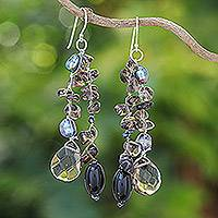 Pearl waterfall earrings, 'Nocturnal Symphony' - Pearl and Sterling Silver Dangle Earrings