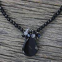 Black chalcedony and pearl pendant necklace, 'In Dreams' - Hand Crafted Beaded Chalcedony Necklace from Thailand