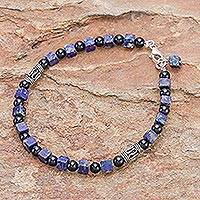 Quartz and lapis lazuli beaded bracelet, Blue Night