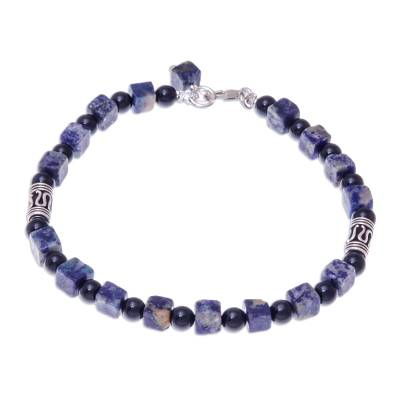Quartz and lapis lazuli beaded bracelet