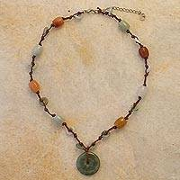 Jade beaded necklace,