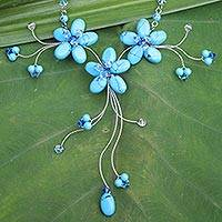 Flower necklace, 'Blue Floral Cascade' - Hand Crafted Turquoise Colored Necklace