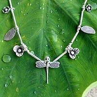 Silver floral necklace, 'Life' - Silver floral necklace