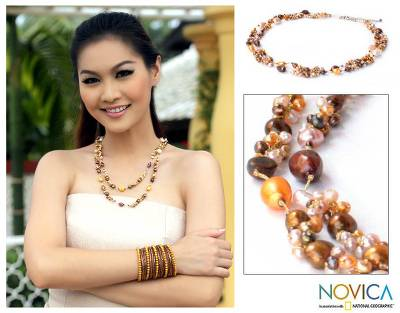 Pearl strand necklace, 'Delightful Brown' - Thai Artisan Crafted Pearl Necklace
