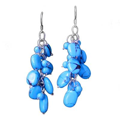 Beaded Turquoise Colored Earrings