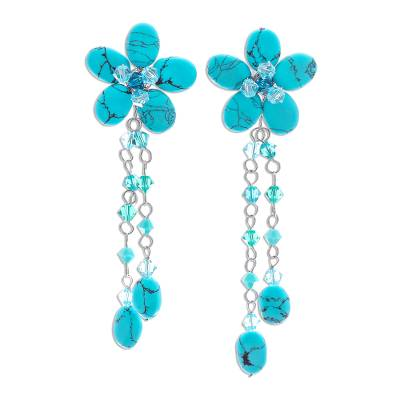 Floral Turquoise Colored Earrings