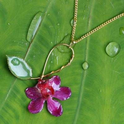 Natural orchid flower necklace, 'Sublime' - Artisan Crafted Natural Flower Pendant Necklace