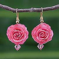 Natural rose flower earrings, 'Timeless Pink' - Natural Flower Dangle Earrings